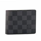 【LV】黑灰棋盤格對開八卡短夾 N63261