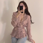 chic韓國氣質溫柔浪漫法式復古小性感v領蕾絲花邊顯瘦仙氣襯衫女『居享優品』