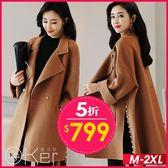 中大尺碼 韓系西式翻領寬鬆毛呢開岔珍珠斗篷外套 M-2XL O-PIer歐珂兒 155150-1-C