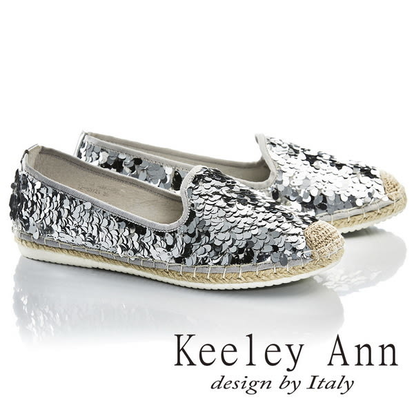 ★2017春夏★Keeley Ann獨特魅力~閃耀亮片羽毛編織真皮軟墊平底鞋(銀色)-Ann系列