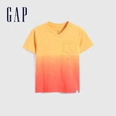 Gap男幼童 輕薄透氣V領短袖T恤 681415-橙色漸層