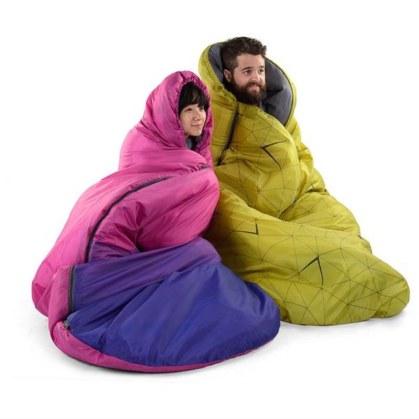 PUSH! 登山戶外用品 Colourful牛舌餅 個性化無拘束帶帽四季睡袋P81