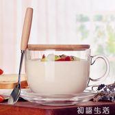 大容量玻璃馬克杯燕麥杯子日式帶蓋勺早餐杯可微波牛奶麥片碗家用 初語生活