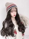 針織帽子女韓版秋冬季時尚毛線冷帽網紅帽帶頭發假發帽一體 【快速出貨】