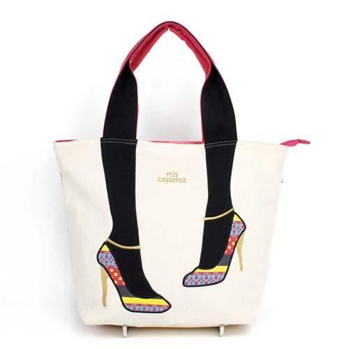 美腿包 mis zapatos日本流行~2016 小花彩繪高跟鞋款肩背大包
