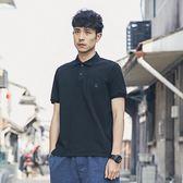 POLO衫男日系純色貼標修身翻領短袖T恤