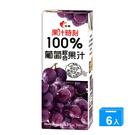 果汁時刻100%葡萄汁200ml*6【愛買】