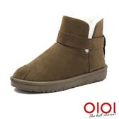 雪靴 冬戀序曲皮帶短筒雪靴(棕) *0101shoes【18-V-14br】【現貨】