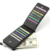 超薄男士卡包多卡位卡片包簡約長款信用卡夾卡套拉鍊多功能名片包   琉璃美衣