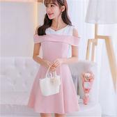 大碼韓版短袖百搭洋裝女時尚顯瘦拼接打底裙