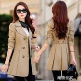 女裝春秋韓國風衣中長款寬鬆加肥加大碼氣質雙排扣女外套『潮流世家』