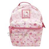 〔小禮堂〕Hello Kitty 皮質拉鍊後背包《粉.愛心.渲染》雙肩包.外出包 4901610-56349