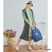 【Tiara Tiara】百貨同步aw 單色棉質長版背心外罩衫(灰/黑)