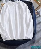 男裝t恤長袖衫情侶純色純棉打底衫夏季學生T恤純白色