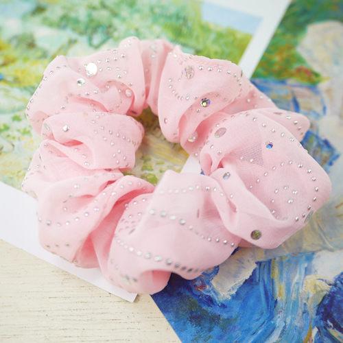 【粉紅堂 髮飾】浪漫星空 雪紡紗大腸圈髮束 *粉紅色*