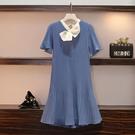 2021年夏裝新款女裝胖妹妹法式裙子洋氣減齡雪紡洋裝設計感小眾 幸福第一站