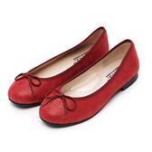 G.Ms. MIT系列-夢幻芭蕾蝴蝶結娃娃鞋-蜥蝪紅