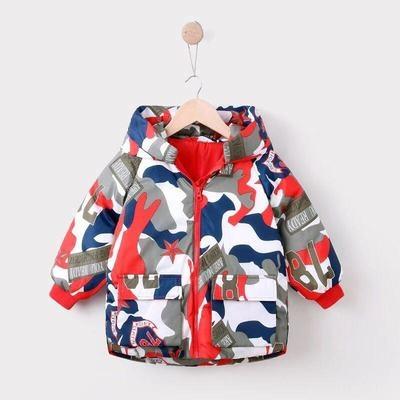 男Baby男童外套帥氣大迷彩羽絨外套連帽外套紅色現貨90%絨10%羽歐美品質