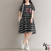 大尺碼洋裝文藝寬鬆棉麻印花短袖連身裙