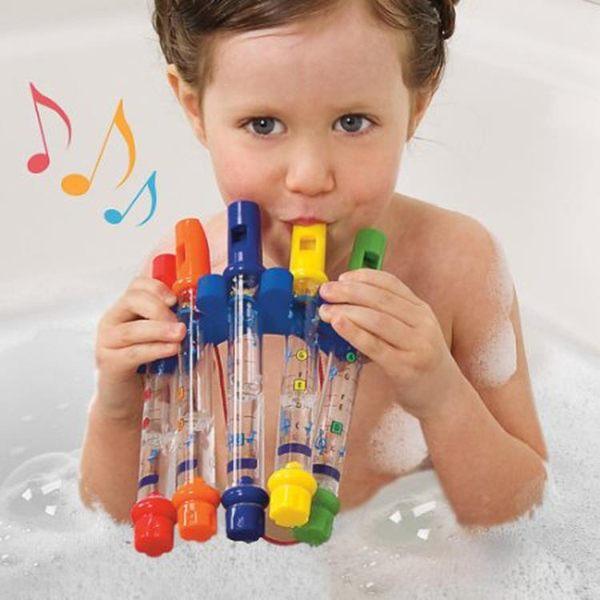 外貿可裝水寶寶洗澡玩具口琴水哨子戲水笛子兒童豎笛有樂譜