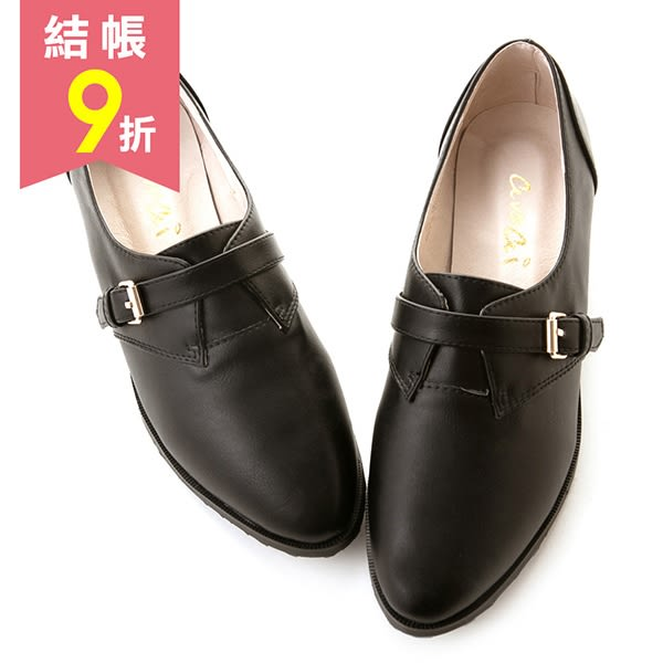 素面仿古皮帶扣飾紳士休閒鞋