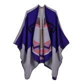 仿羊絨披肩-幾何線條捲邊雙面女圍巾5色73we24【巴黎精品】
