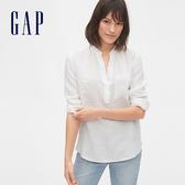 Gap女裝簡約純色開領長袖襯衫577605-白色