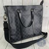 BRAND楓月 LOUIS VUITTON LV N41259 經典 黑色 棋盤 公事包 肩背包 側背包