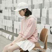 春季新款連帽拼接上衣韓版學生套頭清新寬鬆短袖T恤女 美斯特精品