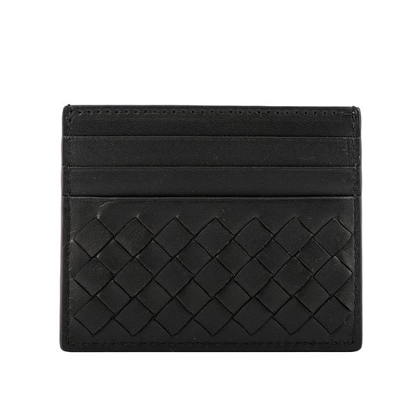 【BOTTEGA VENETA】小羊皮編織6卡信用卡/名片夾(黑色) 162150 V001N 1000