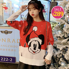 BOBO小中大尺碼【00424】寬版紅色耶誕卡通鼠針織長袖 現貨