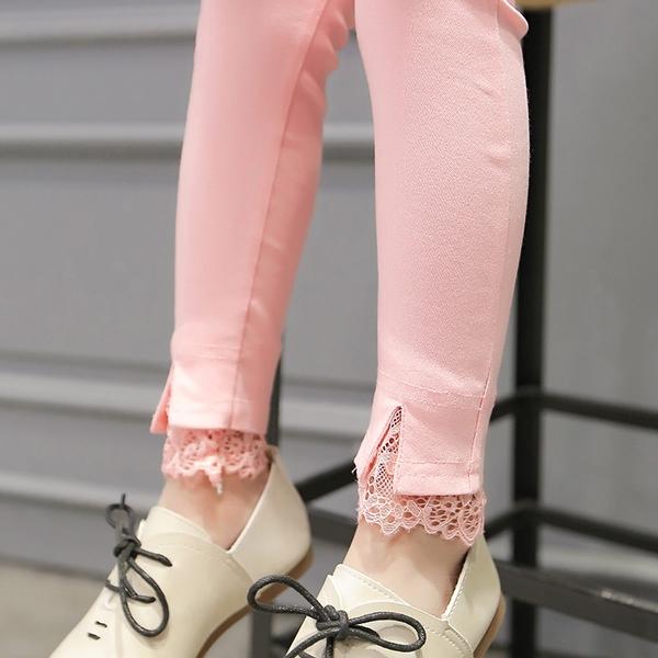 女寶寶 蕾絲打底褲 春秋冬裝兒童裝女寶寶大童 外穿鉛筆棉褲子