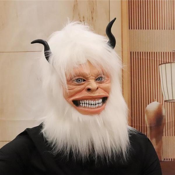 新款雪人雪怪YET搞笑面具萬圣節cosplay動物牛角兒童演出表演道具 小艾新品