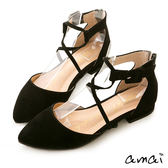 amai時尚交叉繫踝尖頭平底鞋 黑