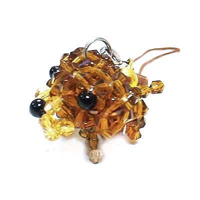 深褐色小拉不拉多水晶串珠吊飾