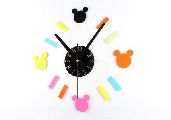 經典人氣卡通造型彩色壁貼時鐘 DIY立體刻度靜音掛鐘 小孩兒童房牆面裝飾 趣味創意時鐘-米鹿家居