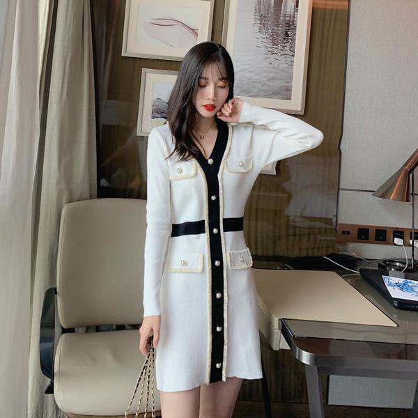 絕版出清 韓國小香風拚色口袋針織V領長袖洋裝