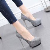 女鞋新款格子布時尚尖頭防水臺春季單鞋女超高歐美細跟高跟鞋  米蘭 shoe