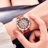 女式手錶 女士手錶防水時尚款女潮流水鑽時來運轉皮帶石英女錶 俏腳丫