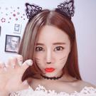 Qmishop 甜美時尚復古鏤空黑色蕾絲刺繡貓耳朵網紗髮箍 兔耳朵髮箍 髮飾【QG002】
