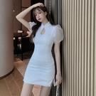 旗袍 性感改良版旗袍包臀短裙2021春夏季新款緊身網紗泡泡袖連衣裙女裝 夢藝家