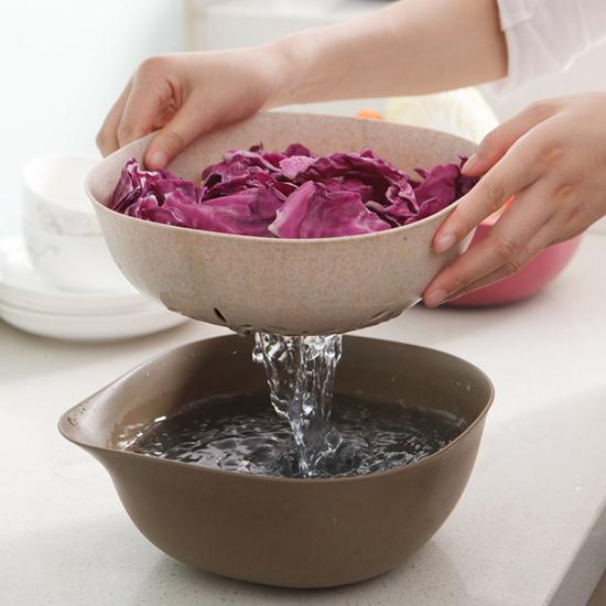 環保小麥雙層瀝水籃 方形 手把 洗菜 清洗 置物 收納 水果 蔬菜 瀝乾 過濾【H031】米菈生活館
