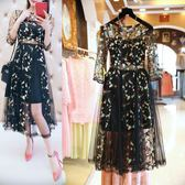 夏季新款歐美時尚洋裝胖妹妹大碼重工刺繡顯瘦網紗裙 【korea時尚記】