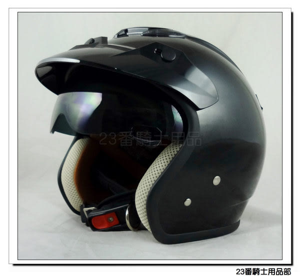 【 ZEUS 瑞獅 ZS 381C 素色款 亮黑 復古帽 安全帽 】隱藏式遮陽鏡片、加贈原廠耐磨鏡片