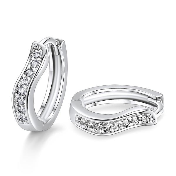 AchiCat 耳環 正白K 完美流線 易扣耳環 耳針式 銀色白鋯 *一對價格* G7023