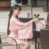 日系軟妹甜美可愛少女日式櫻花貓印花和服和風外套家居服羽織浴衣