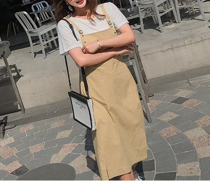 FINDSENSE H1 2018 夏季 新款 清新青春 純色  背帶裙 短袖