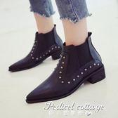 新款女靴粗跟短靴中跟馬丁靴裸靴尖頭鉚釘女鞋·蒂小屋