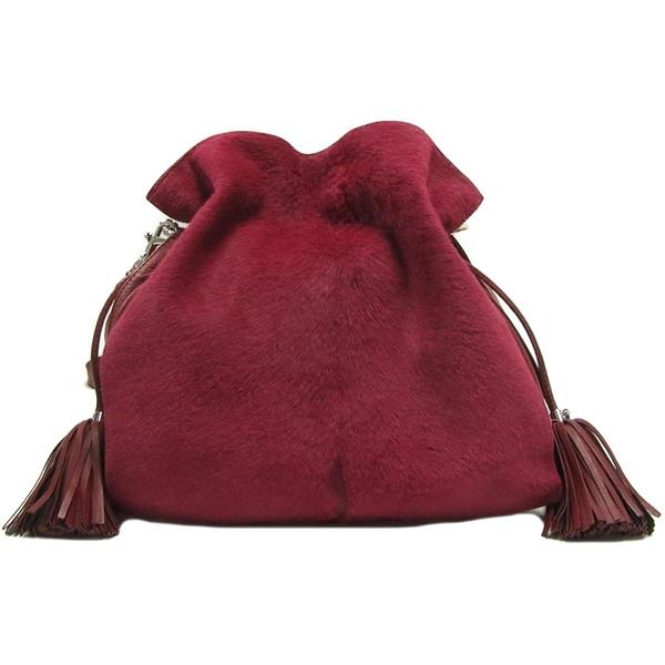 LOEWE 羅威 桃紅色牛皮馬毛肩背包 lamenco Fringe Shoulder Bag061202 【BRAND OFF】