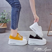 帆布鞋女2020秋季韓版網紅厚底百搭增高板鞋一腳蹬兩穿松糕鞋潮 范思蓮恩